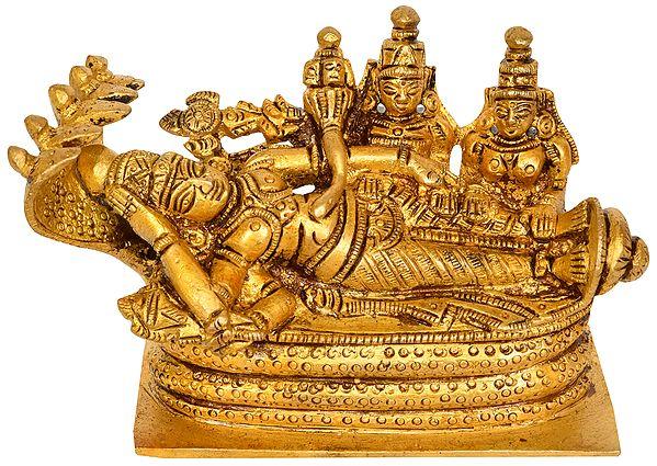 Shesha-shayi Vishnu with Shridevi and Bhudevi