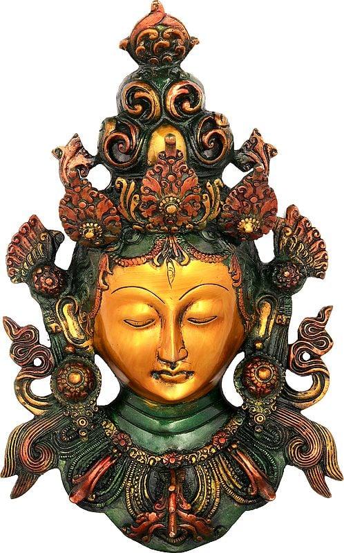 Golden Devi Tara Wall-Hanging Mask