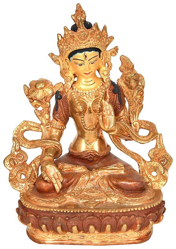 White Tara (Tibetan Buddhist Deity) - Made in Nepal