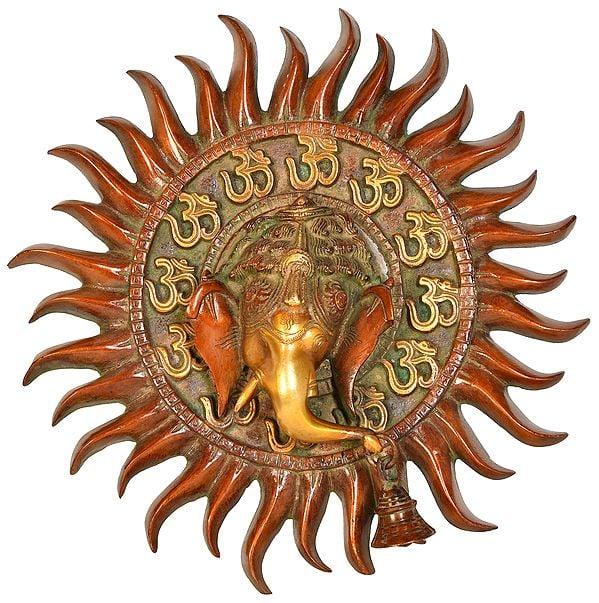 Surya OM Ganesha Wall Hanging Mask with Bell