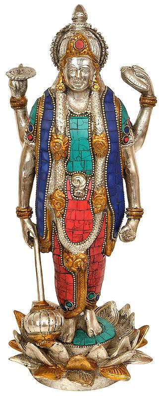 Four Armed Vishnu Standing on Lotus