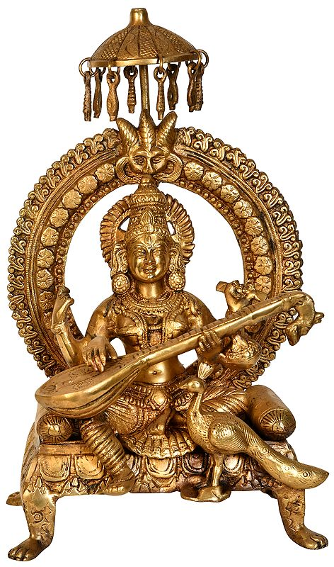 Goddess Saraswati  Seated on Throne with Peacock