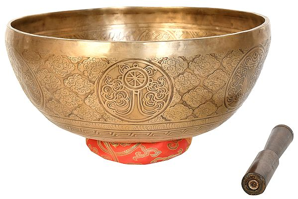Superfine Tibetan Buddhist Singing Bowl with Lotus Feet of Buddha and Ashtamangala Images Inside (Made in Nepal)
