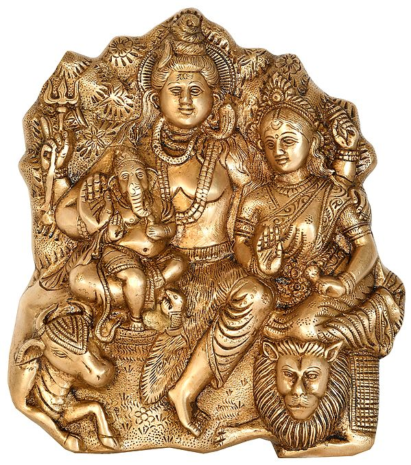 Shiva Family with Nandi and Lion (Wall Hanging Flat Statue)