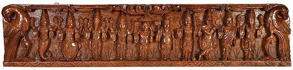 Dashavatara Panel : Ten Incarnations of Lord Vishnu (From Left - Matshya, Kurma, Varaha, Narasimha, Vaman, Parashurama, Rama, Krishna ,Balarama and Kalki)