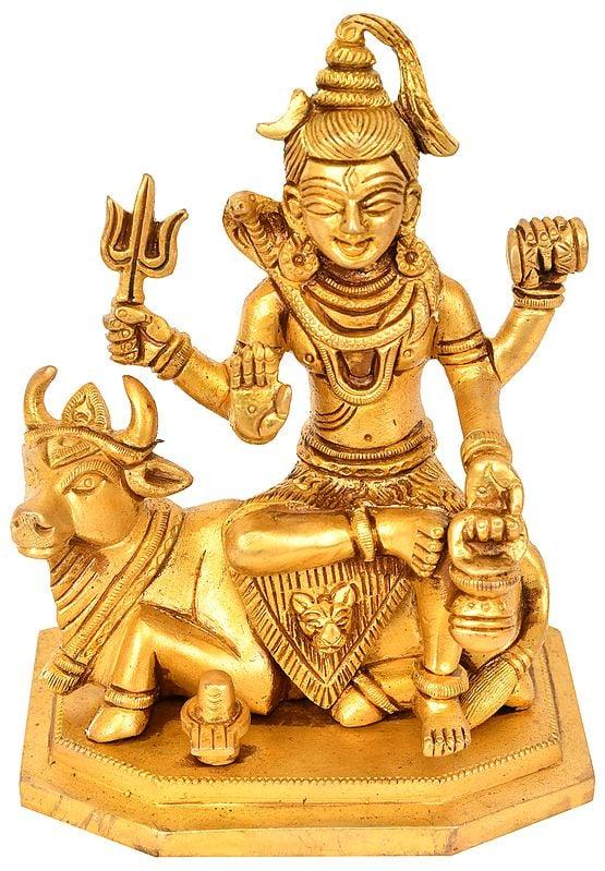 Lord Shiva Seated on Nandi With Shiva Linga