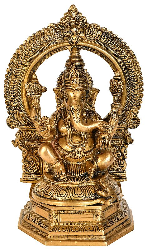 Lord Ganesha with Aureole and Kirtimukha