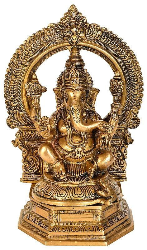 Lord Ganesha with Aureole and Kirtimukha