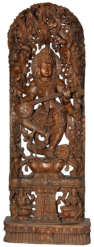Large Size Dancing Goddess Saraswati with Lakshmi Ganesha on Base