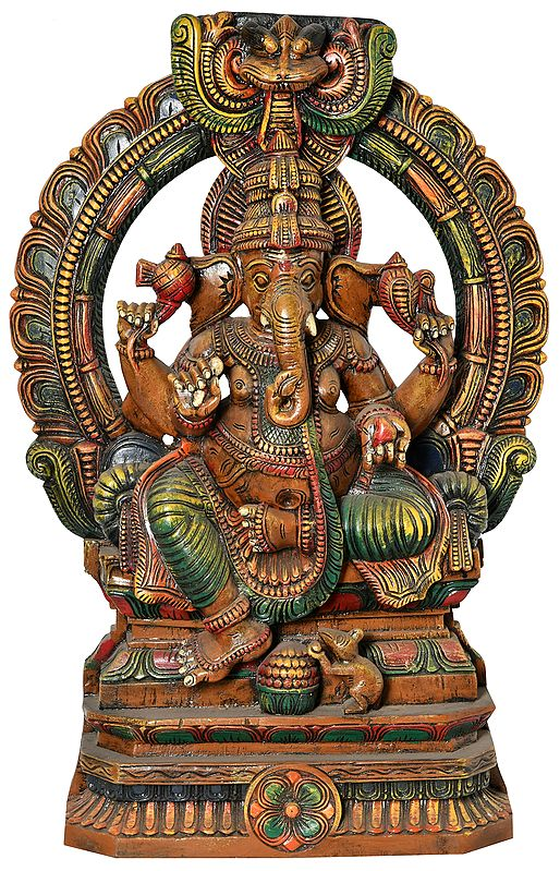 Seated Lord Ganesha with Kirtimukha (Large Size)