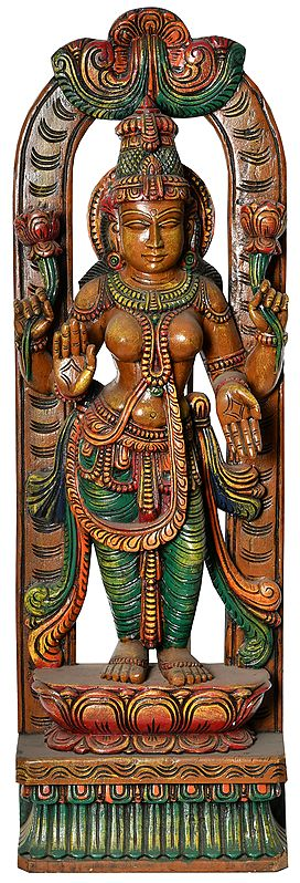 The Lissome Devi Lakshmi Standing On A Lotus