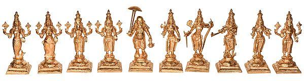 Dashavatara : Ten Incarnations of Lord Vishnu (From Left - Matshya, Kurma, Varaha, Narasimha, Vaman, Parashurama, Rama, Krishna, Balarama and Kalki)