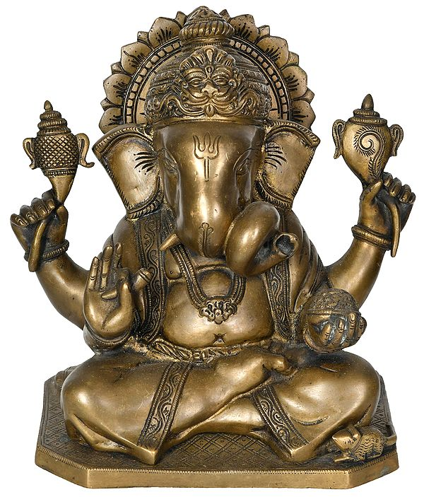 Ganesha Wearing A Kirtimukha Crown
