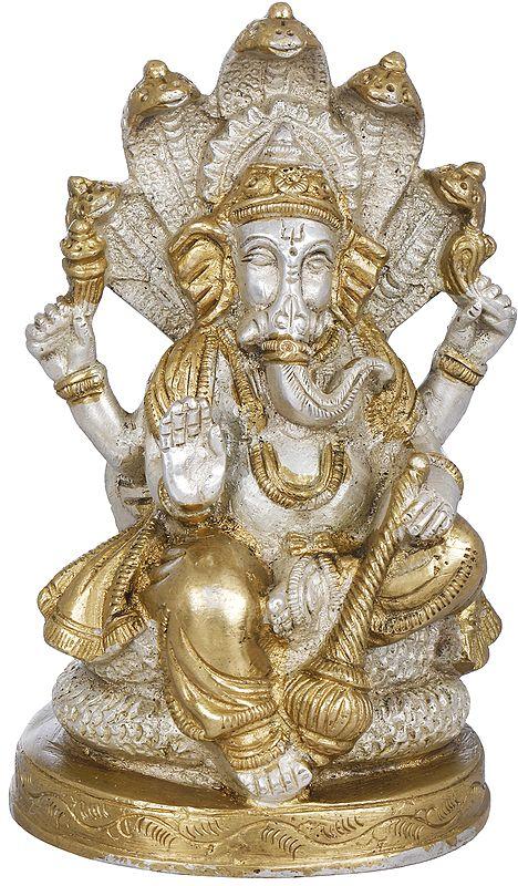Lord Ganesha Seated on Sheshanaga