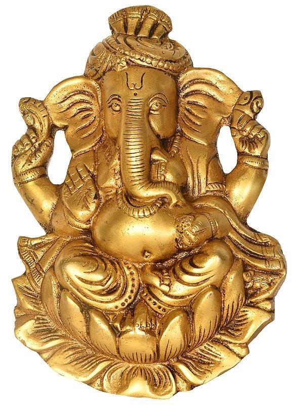 Pagdi Ganesha Wall Hanging (Flat Statue)