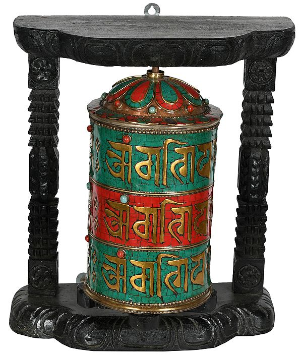 Enshrined Tibetan Buddhist Prayer Wheel (Made in Nepal)