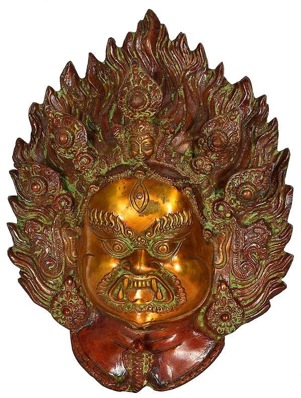 Tibetan Buddhist Deity Mahakala Mask (Wall Hanging)