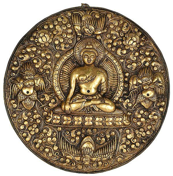Lord Buddha with Garuda Wall Hanging Plate from Nepal