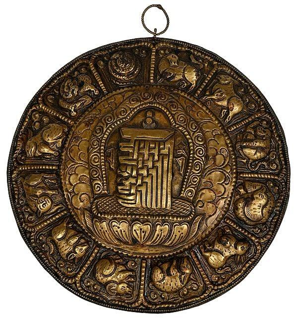 Wall Hanging from Nepal - Ten Syllables of Kalachakra Mandala with Tibetan Zodiac Signs