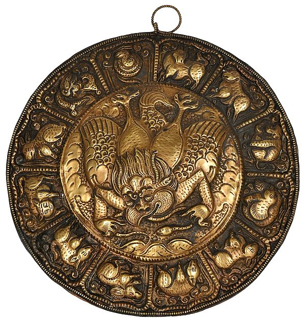 Garuda Surrounded by Tibetan Zodiac Signs - Tibetan Buddhist Wall Hanging from Nepal