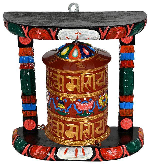 Tibetan Buddhist Prayer Wheel with Auspicious Mantras and Ashtamangala  - Made in Nepal