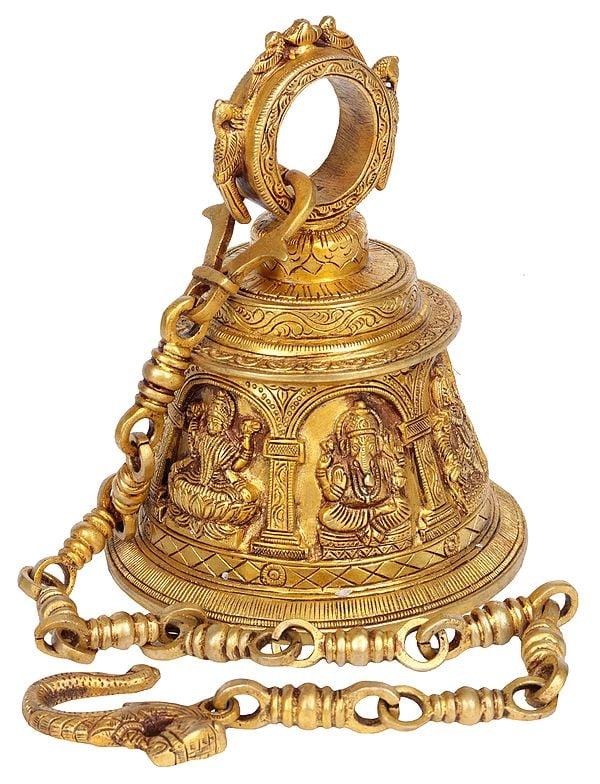 Temple Hanging Bell with Images of Lord Shiva, Hanuman, Ganesha, Goddess Lakshmi, Durga and Radha Krishna