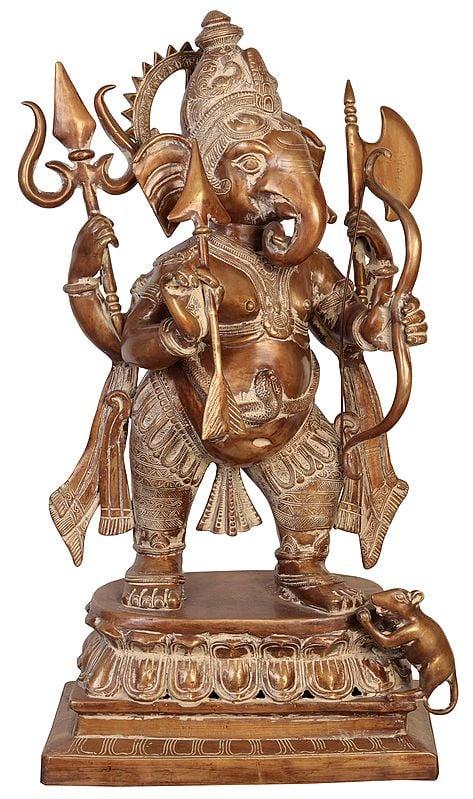 Large Size Yuddha-Ganapati: Ganesha in Warrior Form