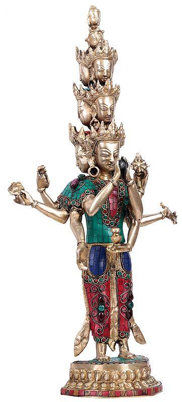 Eleven Headed Eight Armed Avalokiteshvara (Chenrezig) - Tibetan Buddhist Deity
