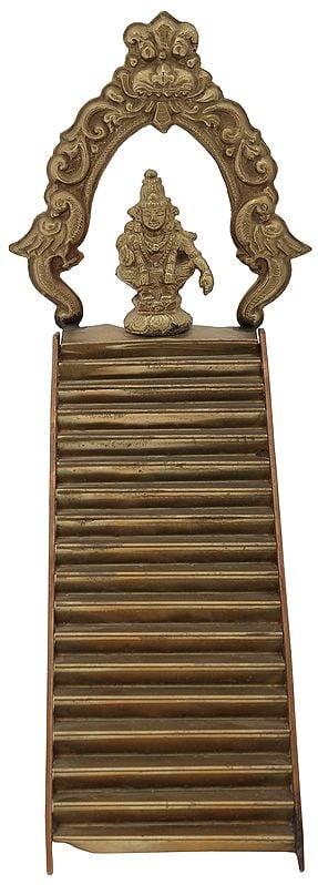 Eighteen Steps of Sabarimala Ayyappa Temple with Lord Ayappa Seated on Top (for Padi Puja)
