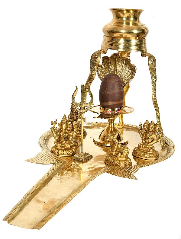 Shiva Linga Abhisheka Set with Parvati Ji, Ganesha, Karttikeya, Nandi and Trident