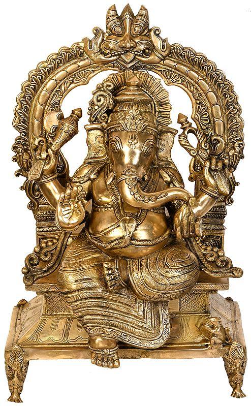 Lord Ganesha Seated on Kirtimukha Throne