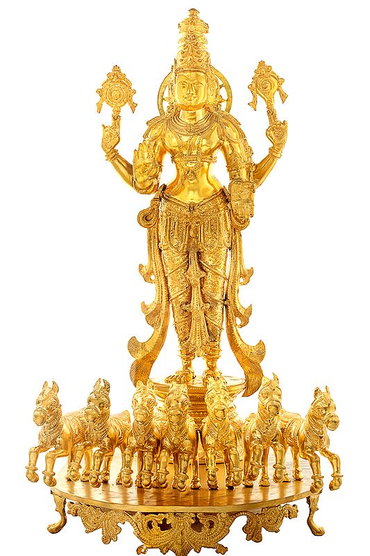 Lord Surya In Bronze, As Resplendent As The Sun