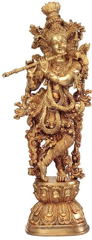 Tribhanga Murari Amidst Vines Of Gold