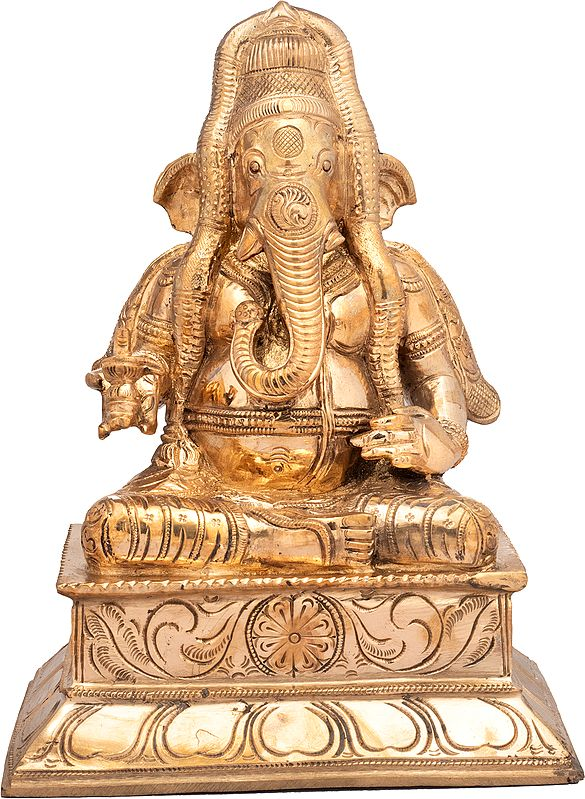 Ganesha Wearing a Long South Indian Garland, Shivalinga In His Hand