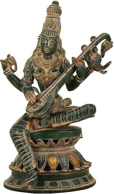 The Graceful Sarasvati Makes Music On Her Veena