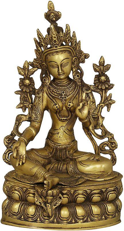 Tibetan Buddhist Deity The Green Tara In Dual-tone Finish