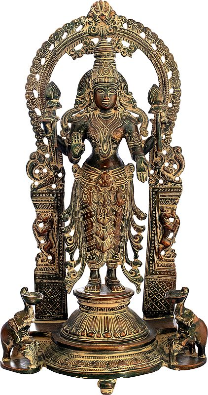 Goddess Lakshmi Flanked By Elephant Diyas