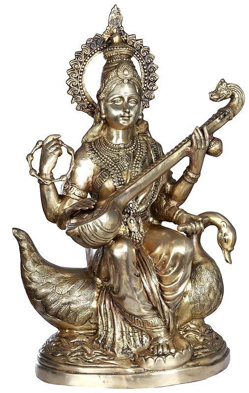 Seated Devi Sarasvati Upon A Riverine Pedestal