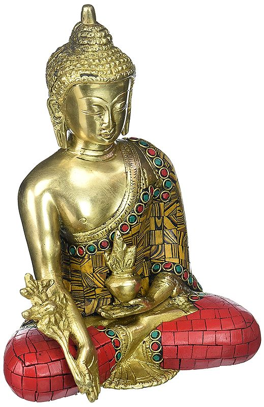Seated Buddha, Of Unusually Coloured Inlay