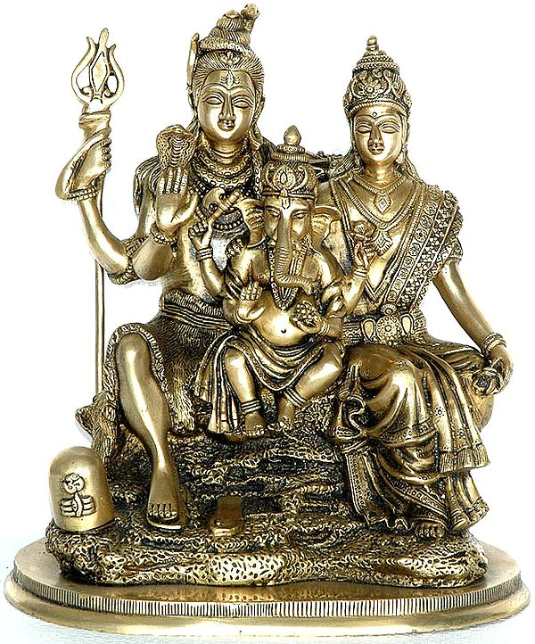 Shiva-Parvati, Seated With Ganesha Between Them