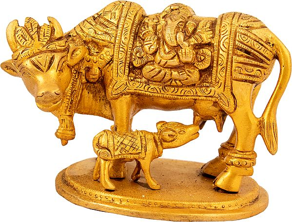 Mother Cow Suckles Her Calf, Lakshmi-Ganesha Carved On Either Side Of Her Robe