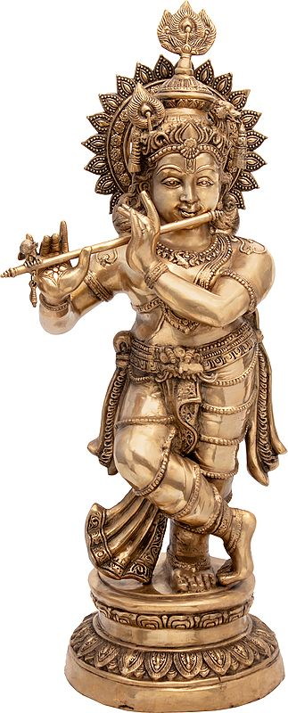 Fluting krishna Wearing a Crown with a Peacock Feather