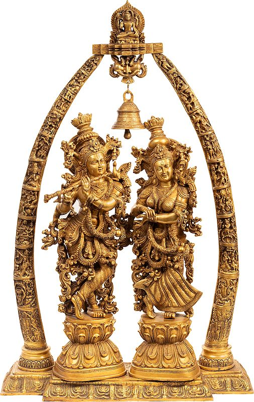 Large Size Embellished Radha Krishna with the Temple Aureole Showing Krishna Leela Episodes