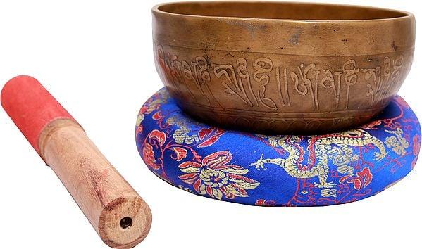 Tibetan Buddhist Singing Bowl with Tantric Grid