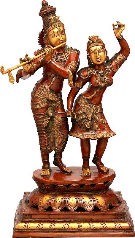 Radha Dancing On The Flute of Her Beloved Krishna