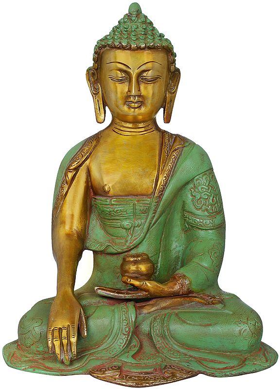 The Contented Buddha, His Hand In Bhumisparsha Mudra - Tibetan Buddhist