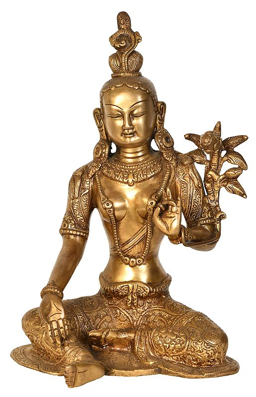 Seated Green Tara, Her Towering Crown In Sharp Contrast To Her Dangling Karnaphool