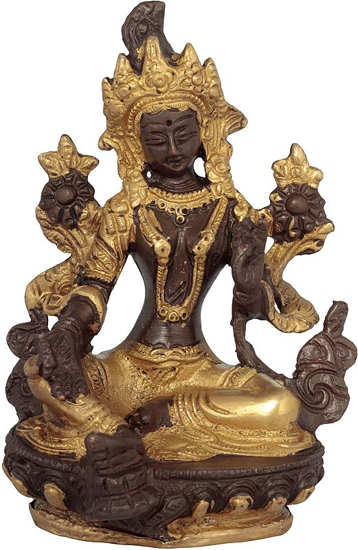 The Exquisitely Sculpted Green Tara, The Elaborate Crown Framing Her Gentle Face