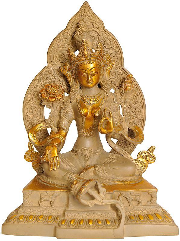 Green Tara Seated Afore An Elaborate Prabhavali Upon A Decorated Pedestal (Tibetan Buddhist Deity)