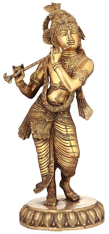 Krishna Playing On A Divine Flute